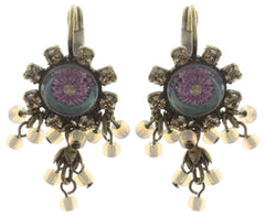 earring eurowire dangling Forget Me Not brown/lila antique brass