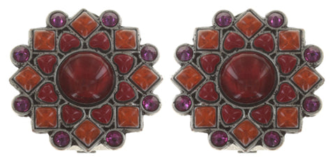 earring clip Mandala red antique silver small