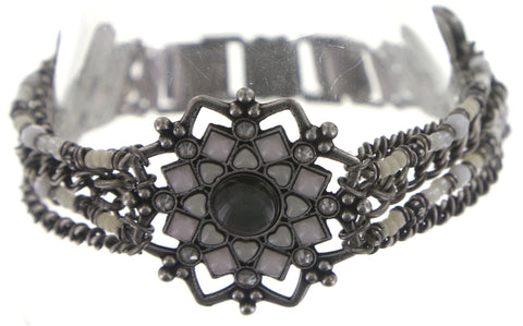 bracelet Mandala white antique silver medium