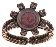 ring Forget Me Not pink antique copper