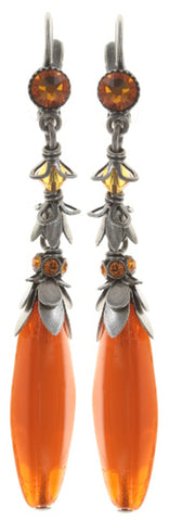 earring eurowire dangling Pineapple red/orange antique silver