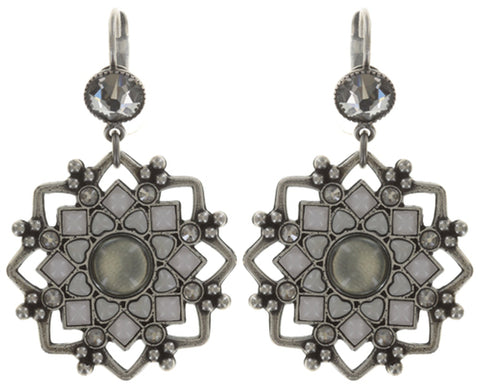 earring eurowire dangling Mandala white antique silver medium