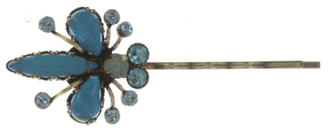 hairpin Flower Zumzum blue antique brass small