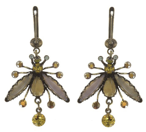 earring dangling Flower Zumzum yellow antique brass medium