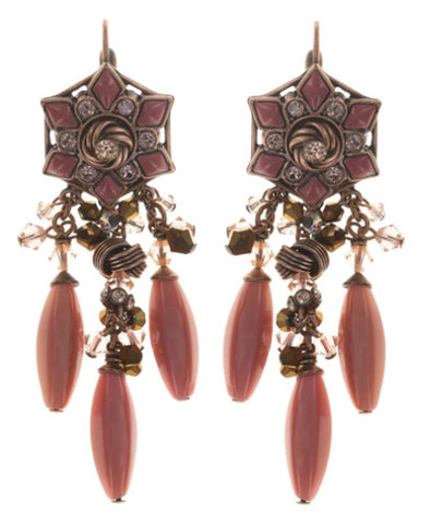 earring eurowire dangling Arabic Nights pink/brown Light antique copper
