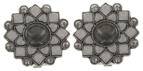 earring clip Mandala white antique silver small