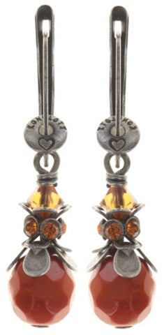 earring dangling Pineapple red/orange antique silver