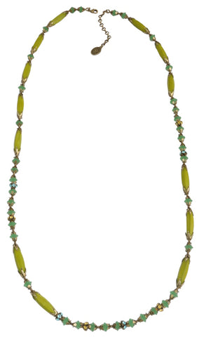 necklace (long) Pineapple yellow/green Light antique brass