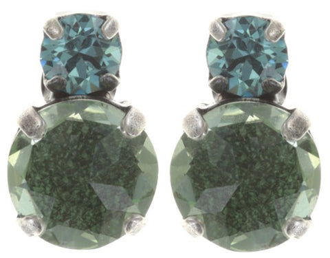 earring stud To Katharine With Love II green antique silver