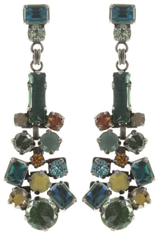 earring stud dangling To Katharine With Love II green antique silver