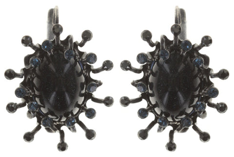 earring eurowire Galaxy in Glass black gun metal medium