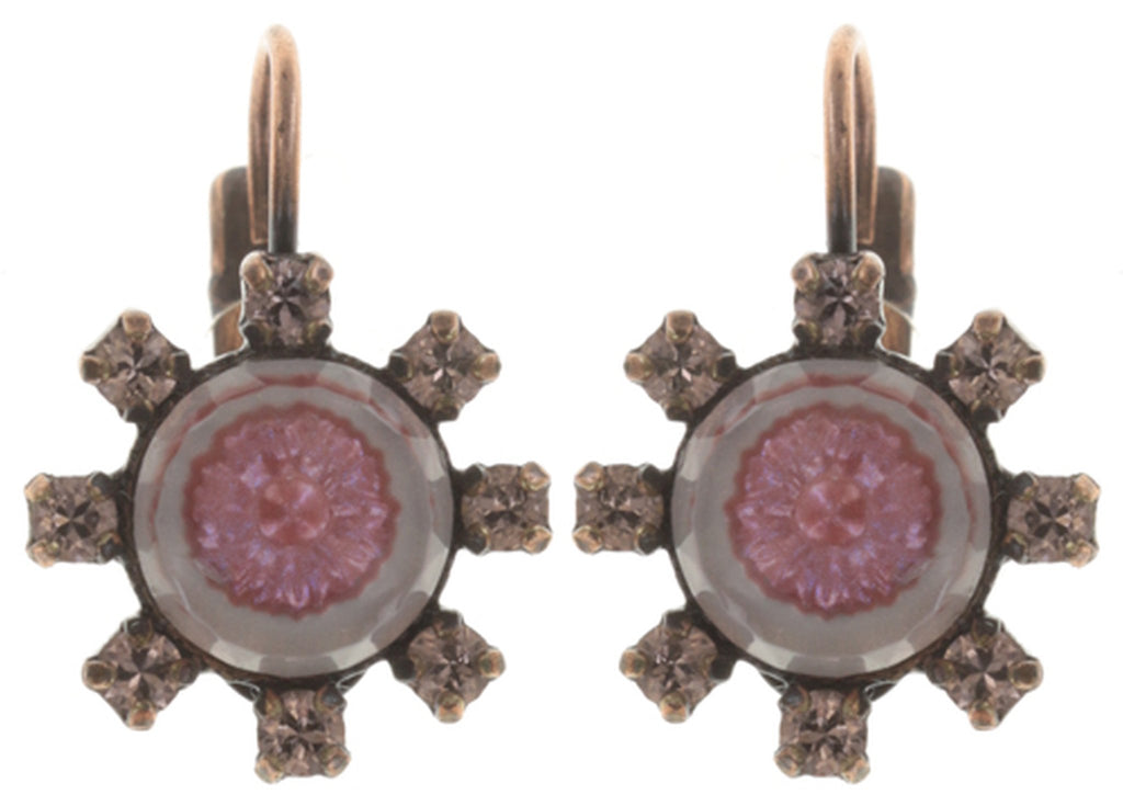 earring eurowire Forget Me Not pink antique copper