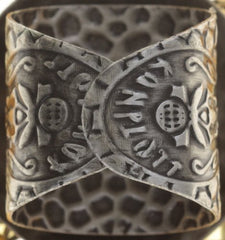 ring Caviar de Luxe brown antique silver 18mm