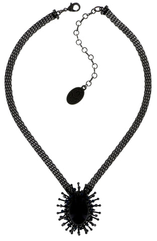 necklace Galaxy in Glass black gun metal extra large