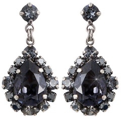 earring stud dangling Ballroom black antique silver