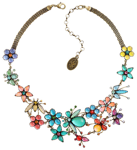necklace Flower Zumzum multi antique brass