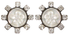 earring stud Forget Me Not white antique silver