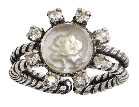 ring Forget Me Not white antique silver