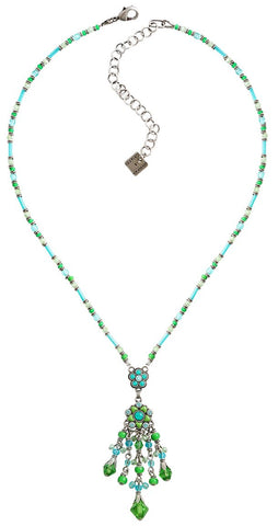 necklace-Y Little Bloom blue/green antique silver