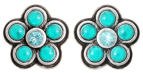 earring stud Little Bloom blue/green antique silver