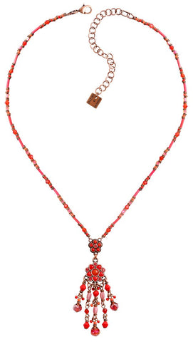 necklace-Y Little Bloom coralline/red antique copper