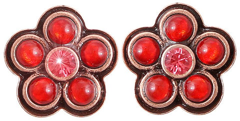 earring stud Little Bloom coralline/red antique copper