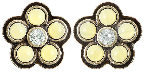 earring stud Little Bloom yellow antique brass