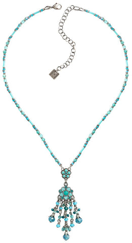 necklace-Y Little Bloom blue antique silver