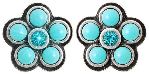 earring stud Little Bloom blue antique silver