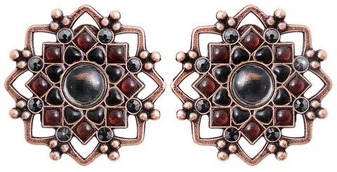 earring clip Mandala black antique copper medium
