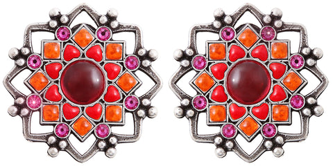 earring clip Mandala red antique silver medium