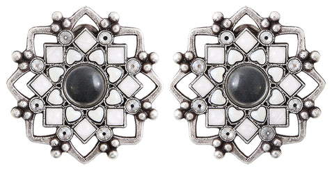 earring clip Mandala white antique silver medium