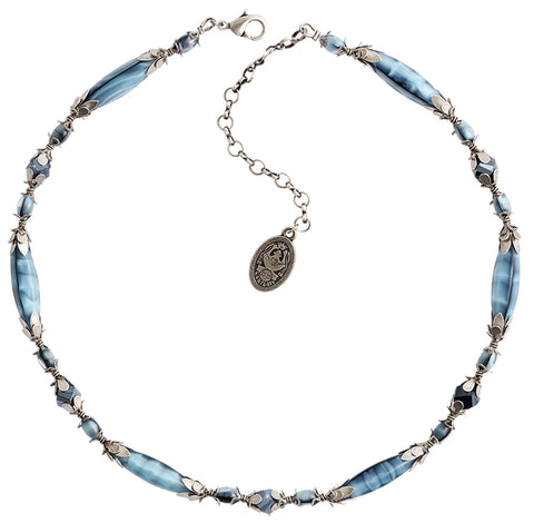 necklace Pineapple blue antique silver