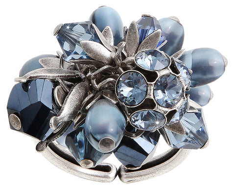 ring Pineapple blue antique silver