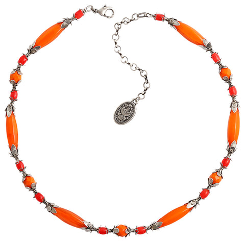 necklace Pineapple red/orange antique silver
