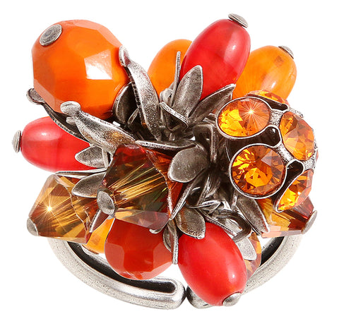 ring Pineapple red/orange antique silver