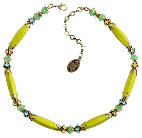 necklace Pineapple yellow/green Light antique brass