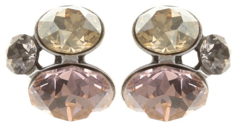 earring stud Disco Star peach/brown antique silver