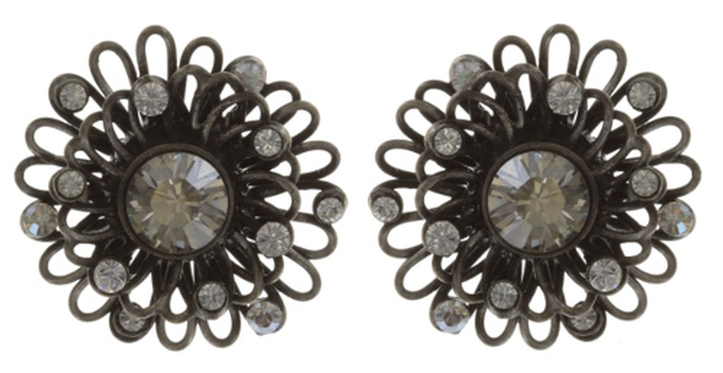 earring stud Distel white antique silver