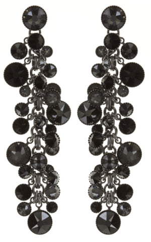 earring stud dangling Waterfalls black/grey antique silver