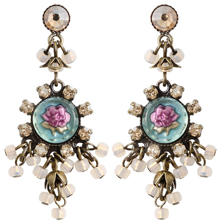 earring stud dangling Forget Me Not brown/lila antique brass
