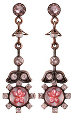 earring stud dangling Forget Me Not pink antique copper