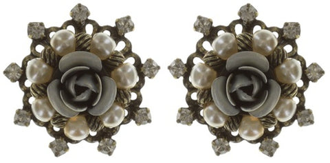 earring stud Petit Four Dentelle white antique brass extra small