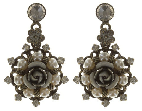 earring stud dangling Petit Four Dentelle white antique brass extra small