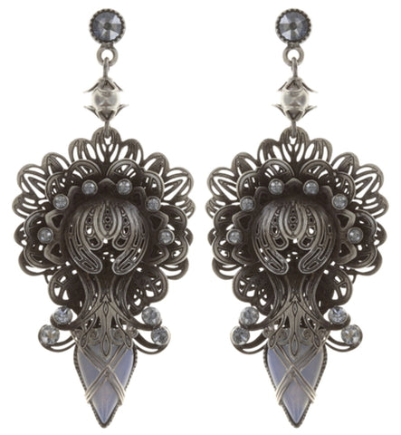 earring stud dangling Harakiri Bloom white antique silver small