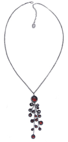 necklace (long) Cocoon red antique silver