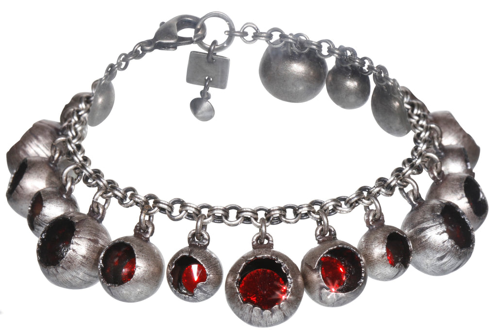 bracelet Cocoon red antique silver
