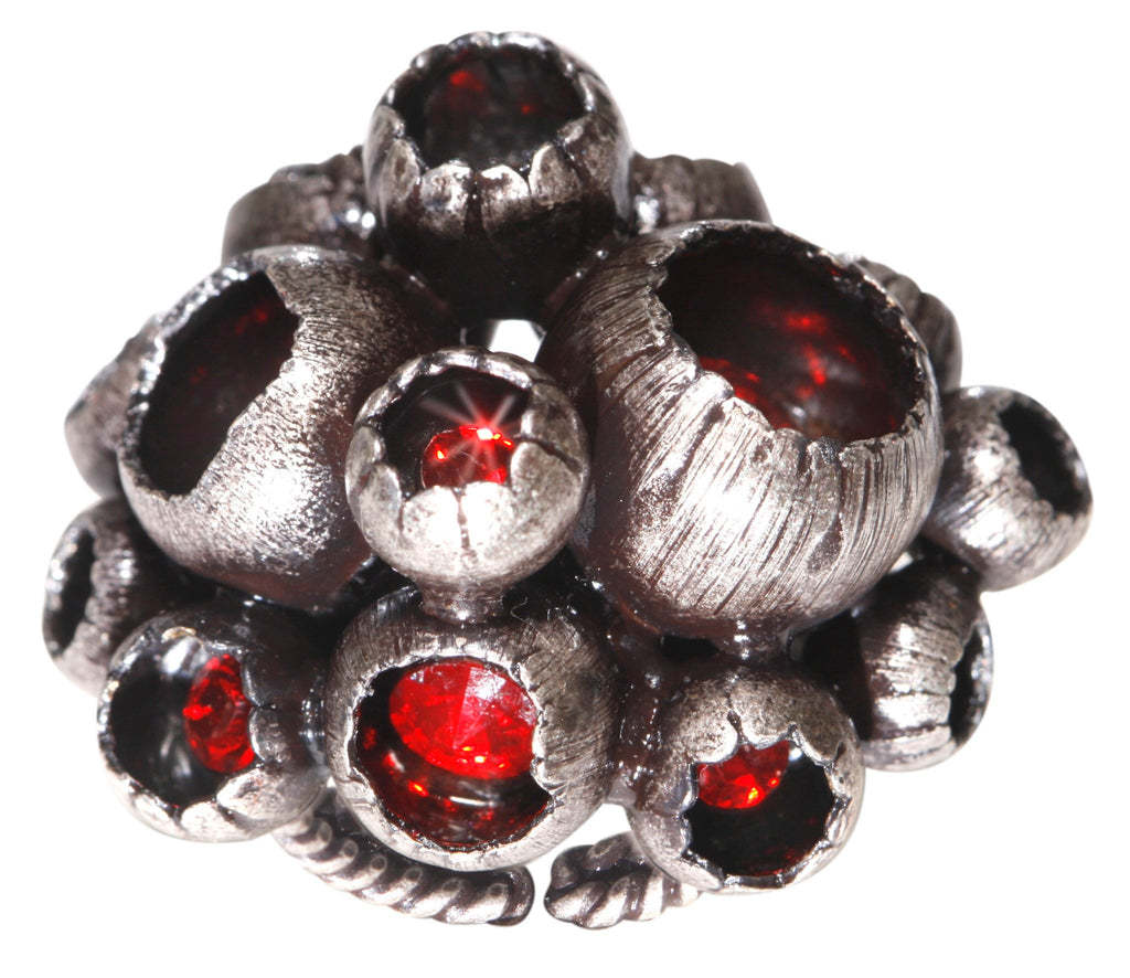 ring Cocoon red antique silver