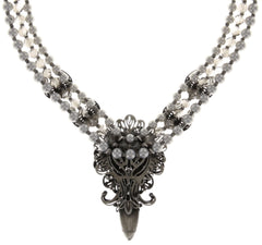necklace Harakiri Bloom white antique silver large