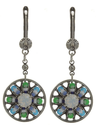 earring dangling Dream Catcher green/white/blue antique silver smallest
